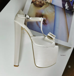 Ivory White Ribbon Chunky Bridal Platforms - Tajna Club