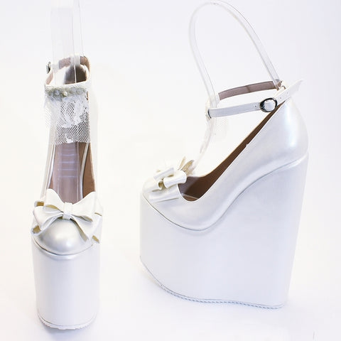 Ivory White Ribbon Wedding High Heel Platform Wedge Shoes - Tajna Club