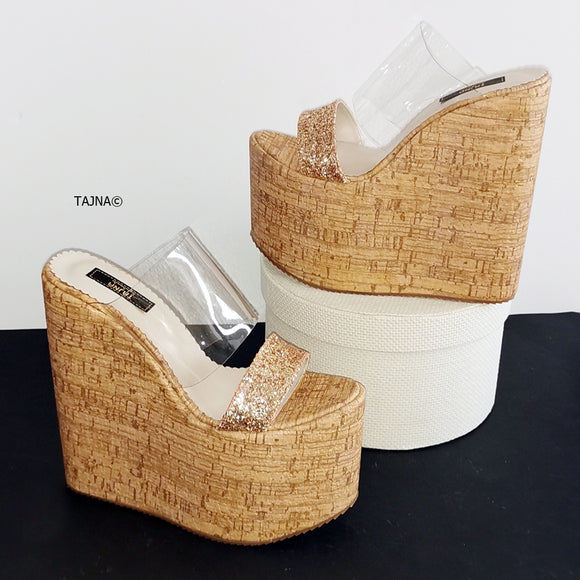 Transparent Gold Glitter Heel Platform Wedges - Tajna Club