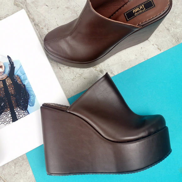 Chocolate Brown Platform Sabo Wedge Mules - Tajna Club