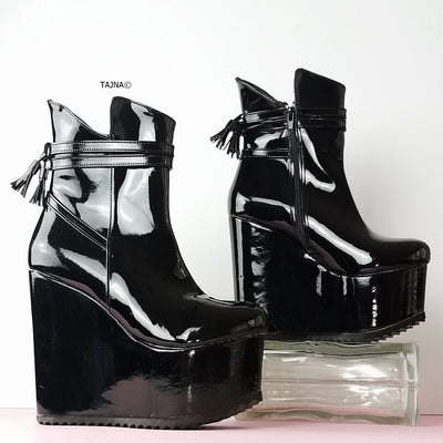 Black Patent Fringe Detail Wedge Booties - Tajna Club