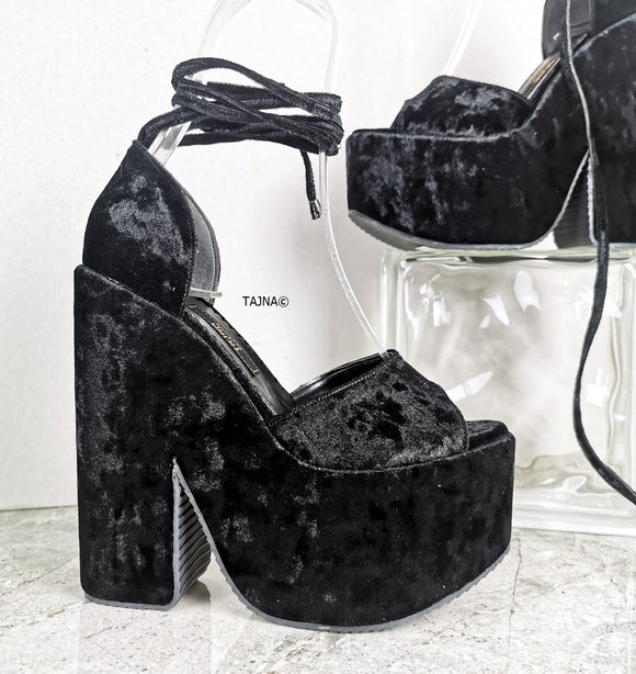 Black Velvet Ankle Lace Up Wedges - Tajna Club