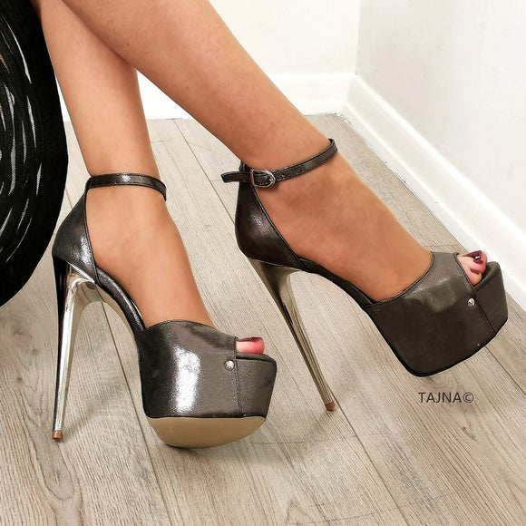 Dark Silver Satin Leather Ankle Strap Platforms - Tajna Club