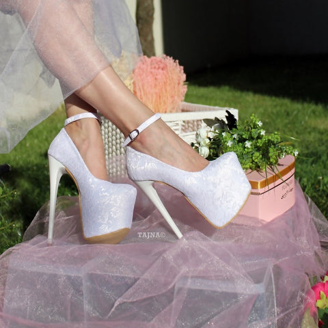 Ankle Strap White Lace High Heel Platform Bride Shoes - Tajna Club