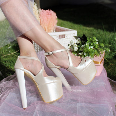 Ivory White Strap High Heel Platform Bride Shoes - Tajna Club