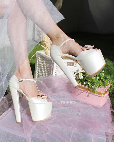 Ivory White Pink Ribbon High Heel Platform Bride Shoes - Tajna Club