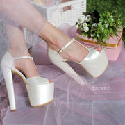 Ivory White Ankle Strap High Heel Platform Bride Shoes - Tajna Club