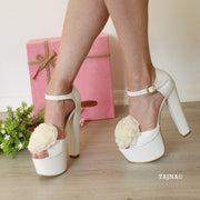 Big Dahlia Featured High Heel Bridal Shoes - Tajna Club