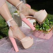 Powder Pink Lace High Heel Platform Bride Shoes - Tajna Club