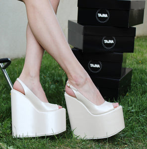 Ivory White Peep Toe High Heel Wedge Shoes - Tajna Club