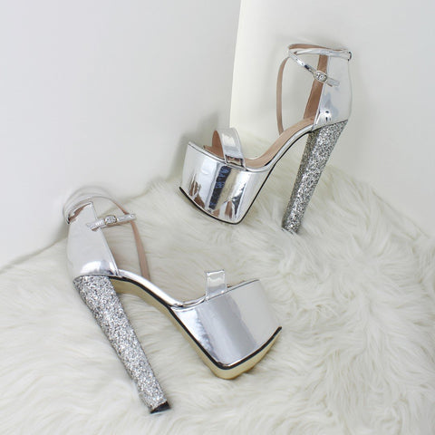 Silver Mirror Shiny Platforms - Tajna Club