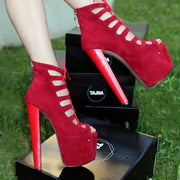 Red Suede Lace Up Gladiator Heels - Tajna Club