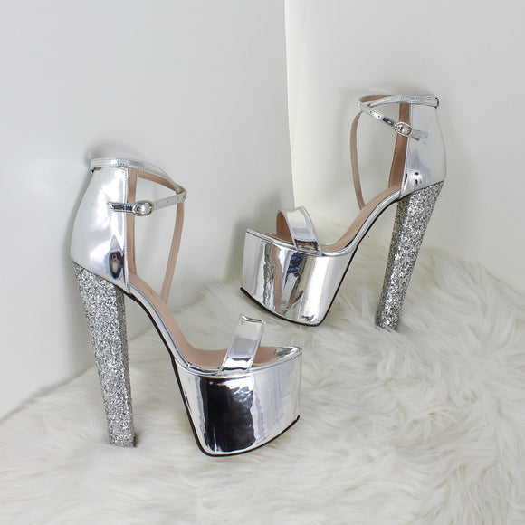 3d04ae1f5e30 Single Strap Silver Shiny Platform Heels - Tajna Club
