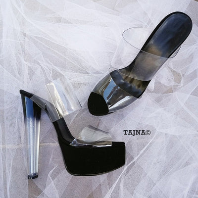 Transparent Strap Glassy Heeled Platform Mules - Tajna Club
