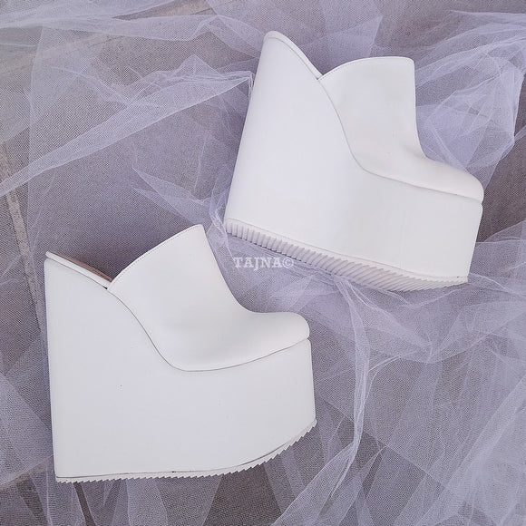 Sabo White  High Heel Wedge Mules - Tajna Club