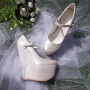 Ivory 17 cm Heel Wedge Bridal Shoes - Tajna Club