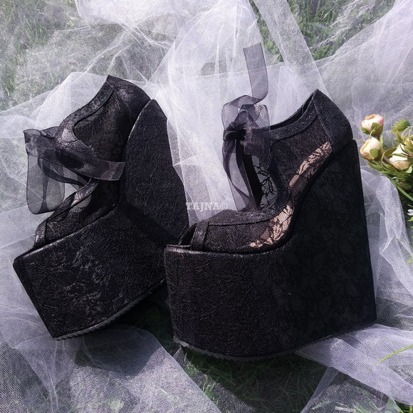 Black Lace Elegant High Heel Wedding Shoes Wedges - Tajna Club