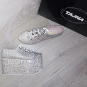 Silver Glitter Lace Up Sport Wedge Platform Shoes - Tajna Club