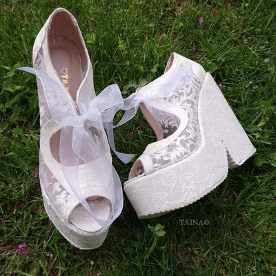 Lace Up Elegant High Heel Wedding Shoes Wedges - Tajna Club