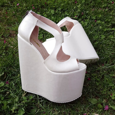 Ivory 18-22 cm Super High Heel Wedding Shoes Wedges - Tajna Club