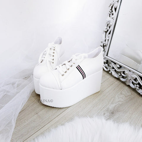 White Lace Up Sport Wedge Platform Shoes - Tajna Club