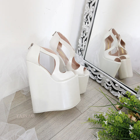 Ivory White Slit Wedding Platform Wedge Shoes 21 cm - Tajna Club