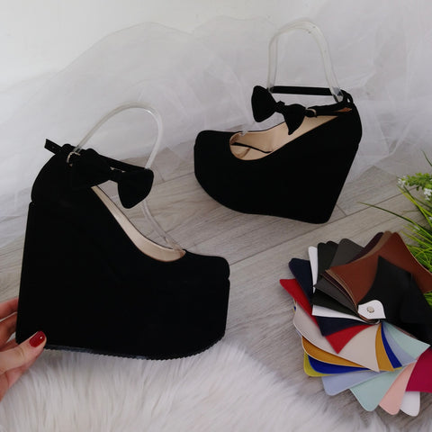 Ankle Strap  Black Faux Suede High Heel Wedge Shoes - Tajna Club