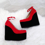 Ankle Strap Red Black Faux Suede High Heel Wedge Shoes - Tajna Club