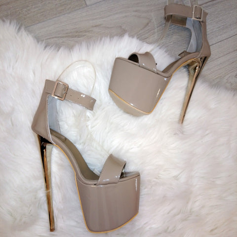 Ankle Strap Dark Beige 19 cm High Heel Platforms - Tajna Club