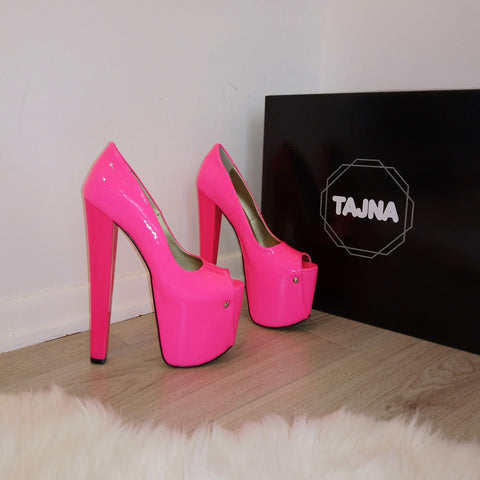 Pink Fusciha Peep Toe High Heel Platform Shoes - Tajna Club