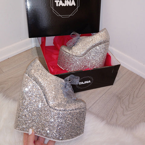 Silver Shimmer Lace up Platform Wedge Shoes - Tajna Club