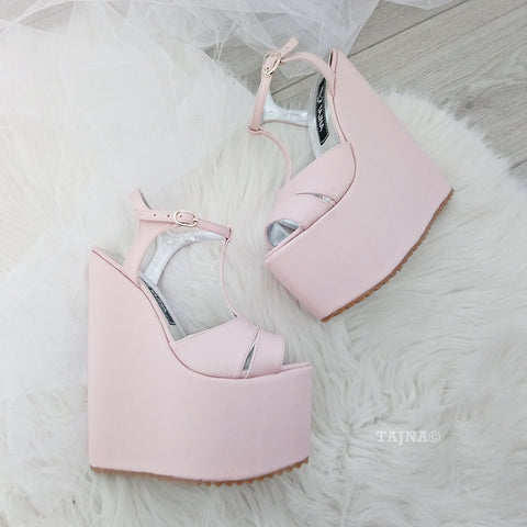 Light Pink Powder High Heel Wedge Shoes - Tajna Club