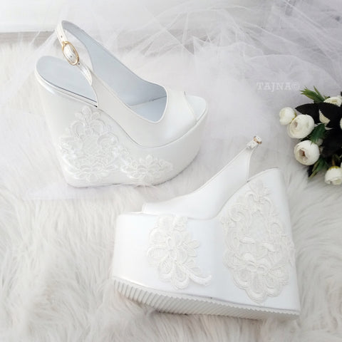 Peep Toe Platform Ivory White Lace  Wedding  Wedge Shoes - Tajna Club