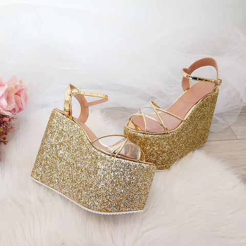 Ankle Strap Gold Glam Wedge Sandals - Tajna Club