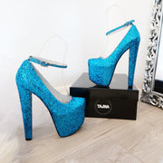 Blue Shinny Ankle Strap 19 cm Platform Shoes - Tajna Club