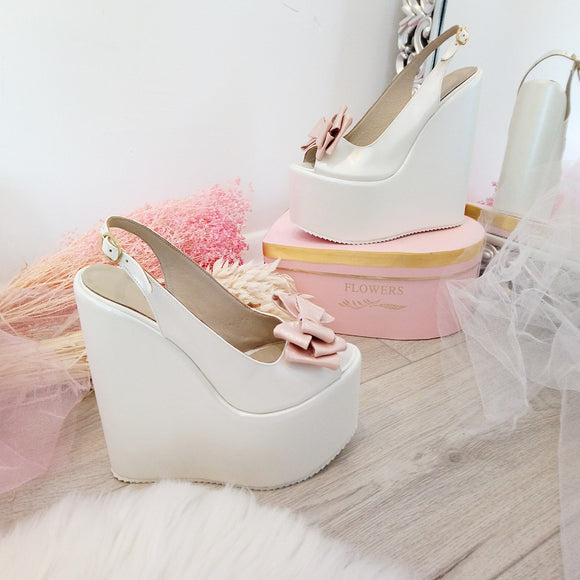 Bridal Ivory White Pink Ribbon Peep Toe Wedge Shoes - Tajna Club