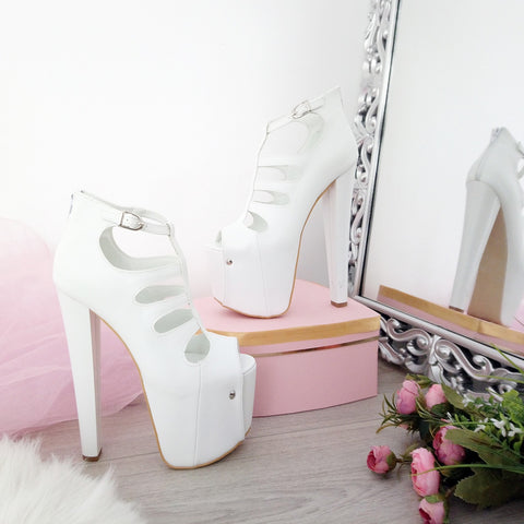 White Cage Peep Toe Platform Shoes 19 cm Heels - Tajna Club