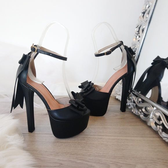 Black Ribbon High Heel Platform Shoes - Tajna Club