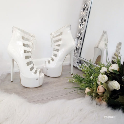 White Gladiator Patent Leather Lace Up Platform Shoes - Tajna Club
