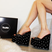 Black Faux Suede Gemstone Platform Wedge Mules - Tajna Club
