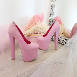 Light Pink Faux Suede 19 cm High Heel Platform Shoes - Tajna Club