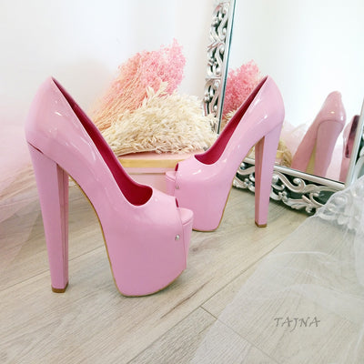 Peep Toe Pink Patent Leather 19 cm High Heel Platform Shoes - Tajna Club