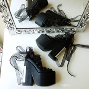 Lace Up Black Balerinas Platform Wedge Shoes - Tajna Club