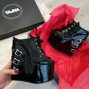 Black Patent Belted High Heel Wedge Mules - Tajna Club