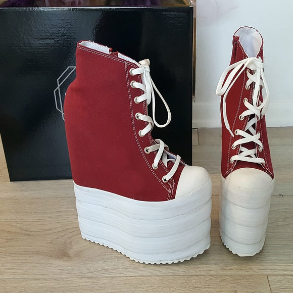 Dark Red Lace Up Sport Style 18-22 cm Platform Wedge Booties - Tajna Club