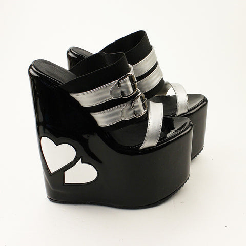 Heart Shaped Black Silver Peep Toe High Heel Wedge Mules - Tajna Club