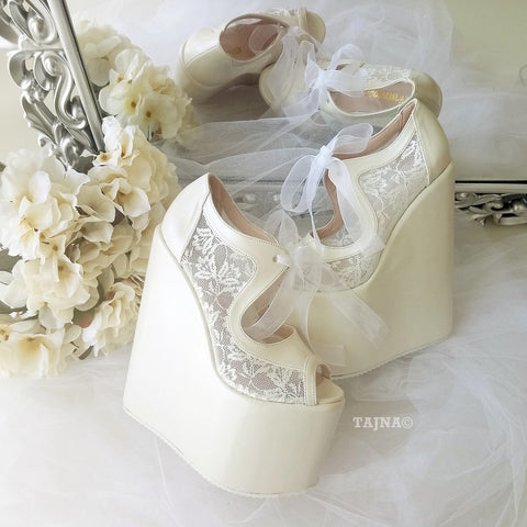Ivory Lace 18-22 cm Super High Heel Wedding Shoes Wedges - Tajna Club