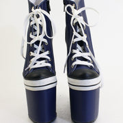 Dark Blue Lace Up Sport Platform Wedge Booties - Tajna Club