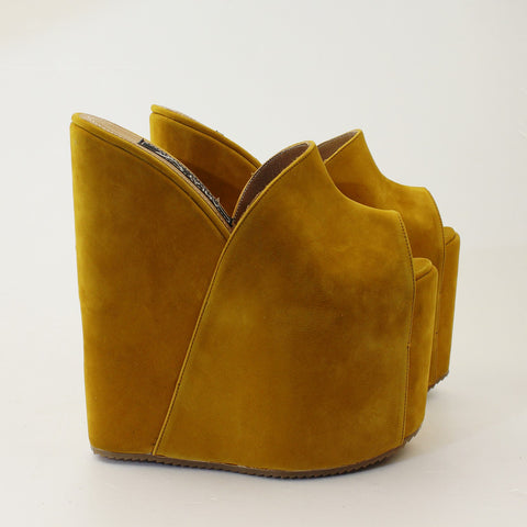 Dark Yellow Faux Suede Peep Toe High Heel Wedge Mules - Tajna Club