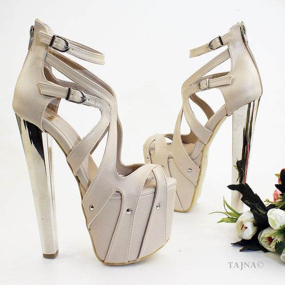 Nude Cream Cross Cage High Heel Platforms 19 cm - Tajna Club